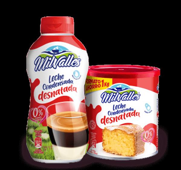 Productos Milvalles leche condensada desnatada