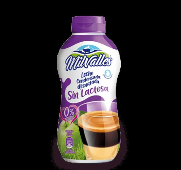 Productos Milvalles leche condensada desnatada sin lactosa
