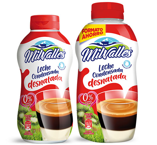 sirvefacil leche condensada desnatada Milvalles